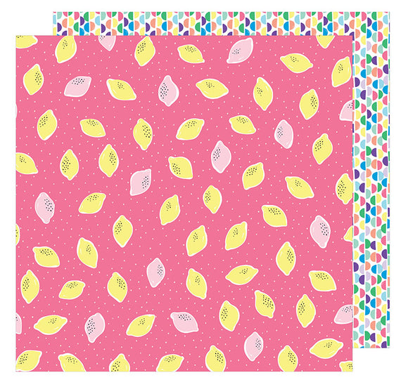 American Crafts Papers - Amy Tangerine - Sunshine & Good Times - Squeeze the Day - 2 Sheets