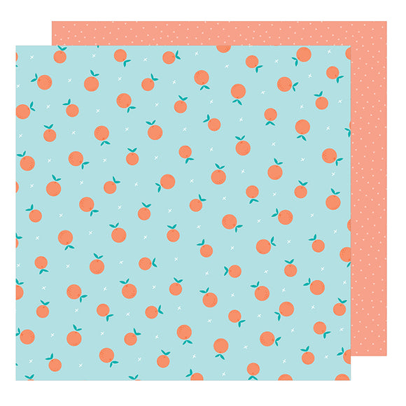 American Crafts Papers - Dear Lizzy - Stay Colorful - Peach Sign - 2 Sheets