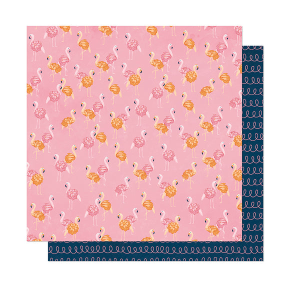 American Crafts Papers - Dear Lizzy - It's All Good - Let's Flamingle - 2 Sheets