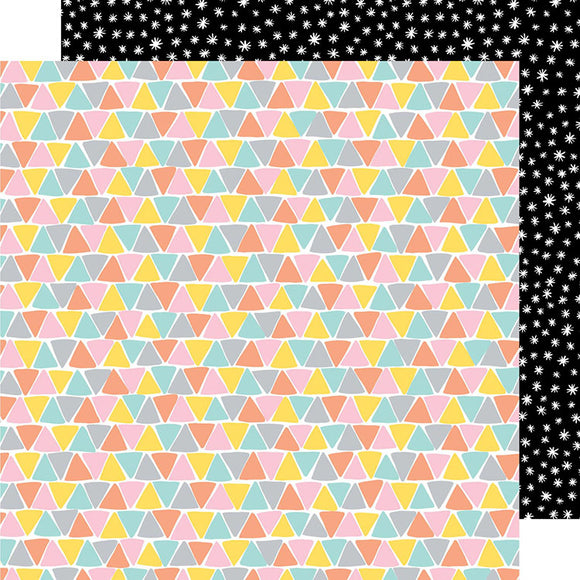 American Crafts Papers - Amy Tangerine - Shine On - Three Sides - 2 Sheets