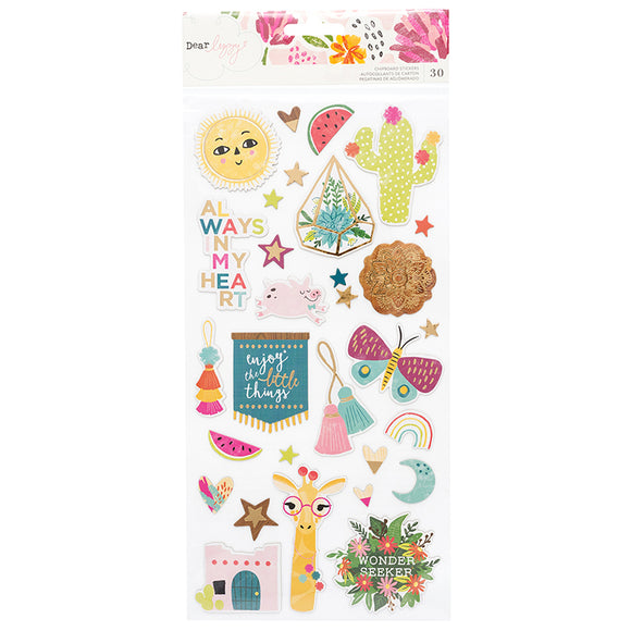 American Crafts Chipboard Stickers - Dear Lizzy - New Day - Foil Accents