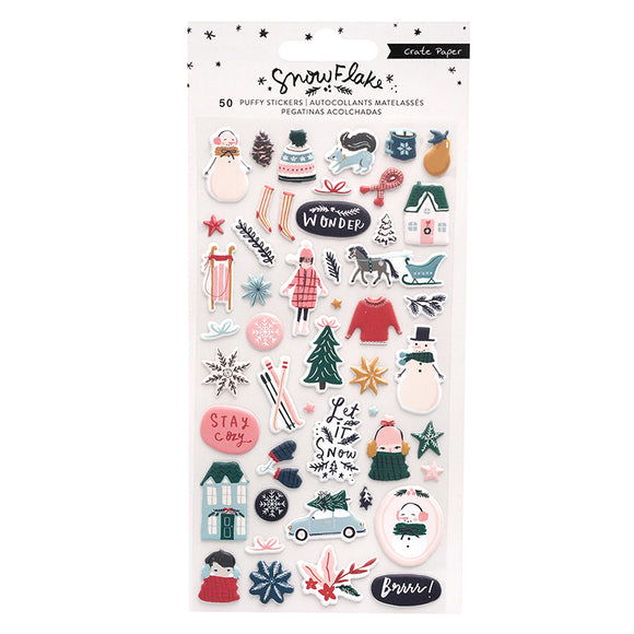 Crate Paper Puffy Stickers - Snowflake