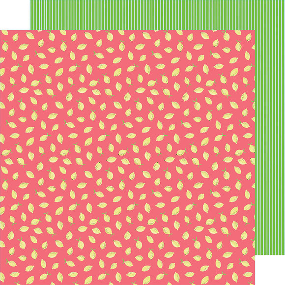 American Crafts Papers - Amy Tangerine - Stay Sweet - Pink Lemon Party - 2 Sheets