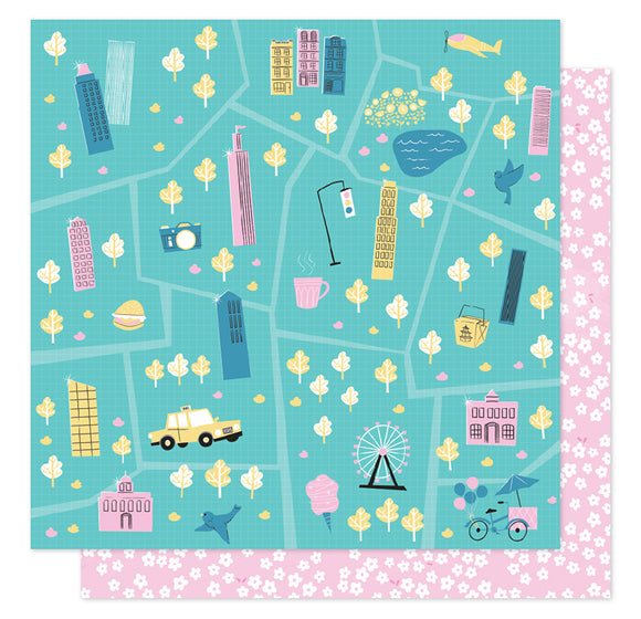 American Crafts Papers - Shimelle - Sparkle City - Tour Guide - 2 Sheets