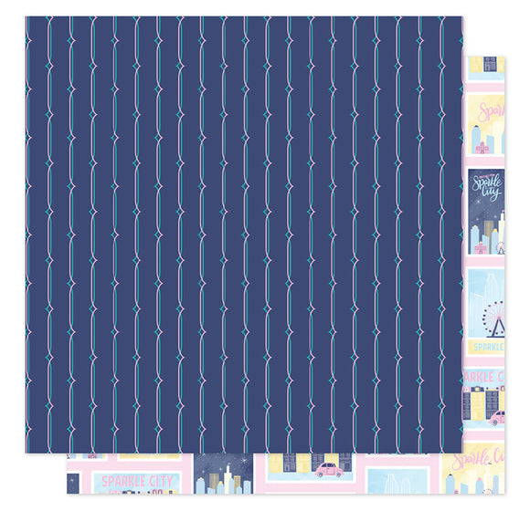 American Crafts Papers - Shimelle - Sparkle City - Postcards Home - 2 Sheets