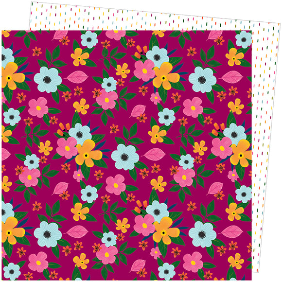 American Crafts Papers - Amy Tangerine - Slice of Life - Flower Power - 2 Sheets
