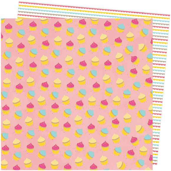 American Crafts Papers - Amy Tangerine - Slice of Life - My Cupcake - 2 Sheets