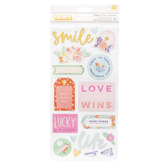 American Crafts Thickers - Dear Lizzy - She's Magic - Delightful Phrases - Iridescent