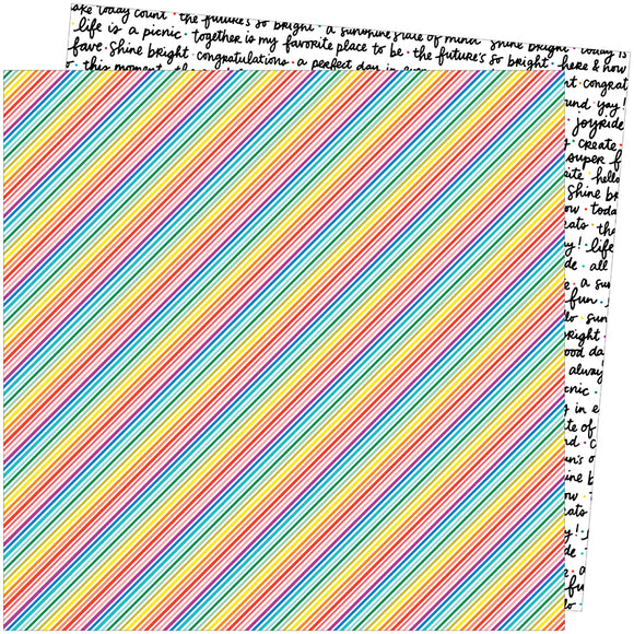 American Crafts Papers - Amy Tangerine - Picnic in the Park - Bright Lines - 2 Sheets