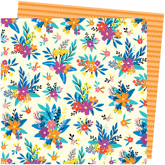 American Crafts Papers - Amy Tangerine - Picnic in the Park - Blossom Bouquet - 2 Sheets