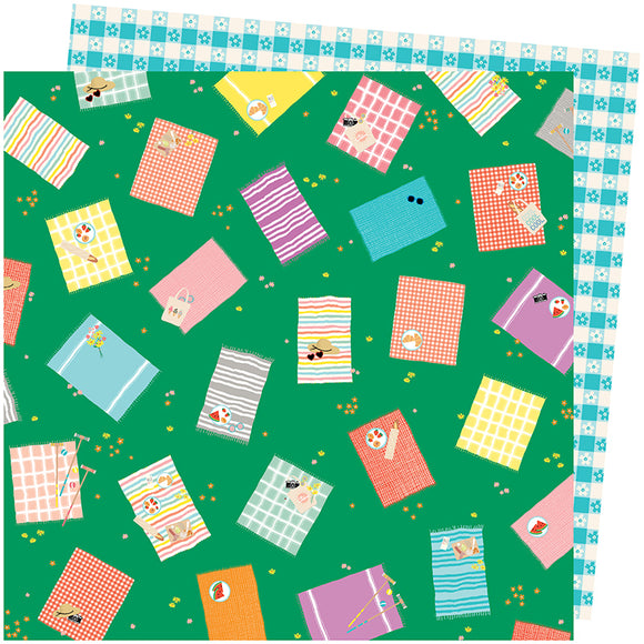 American Crafts Papers - Amy Tangerine - Picnic in the Park - From Above - 2 Sheets