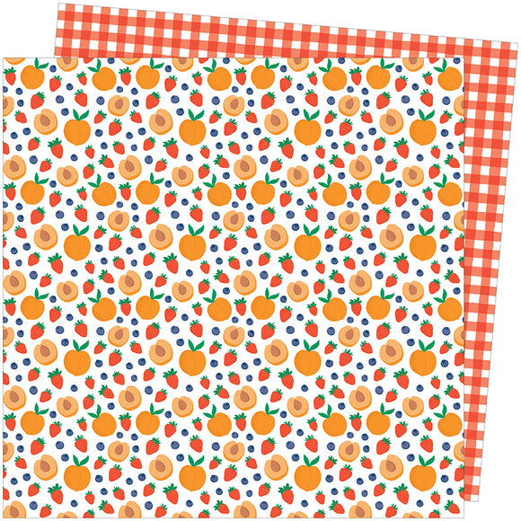 American Crafts Papers - Amy Tangerine - Picnic in the Park - Peach Pit - 2 Sheets