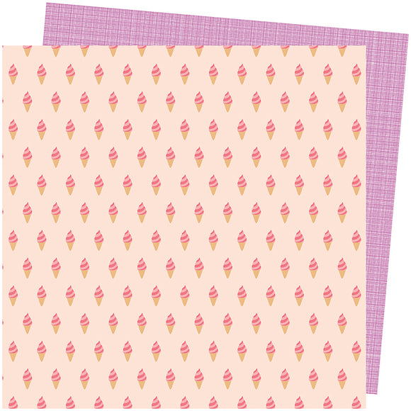 American Crafts Papers - Amy Tangerine - Picnic in the Park - Soft Serve - 2 Sheets
