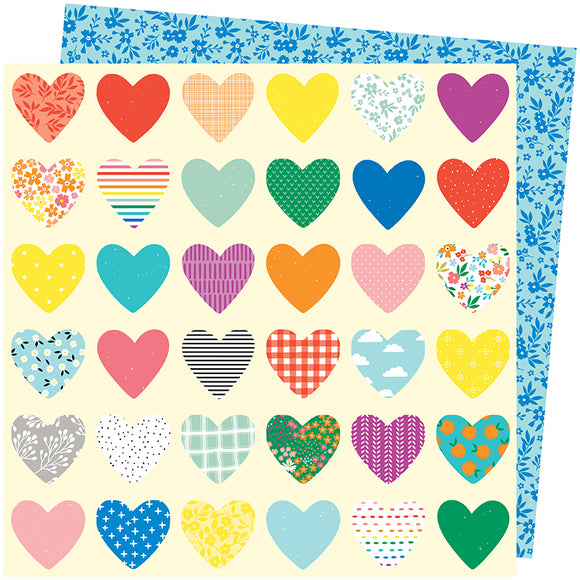 American Crafts Papers - Amy Tangerine - Picnic in the Park - Whole Lotta Love - 2 Sheets