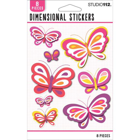 K&Company Studio 112 - Warm Dimensional Stickers - Butterflies