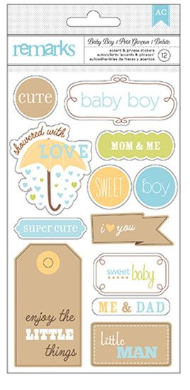 American Crafts Cardstock Stickers - Remarks - Baby Boy - Words