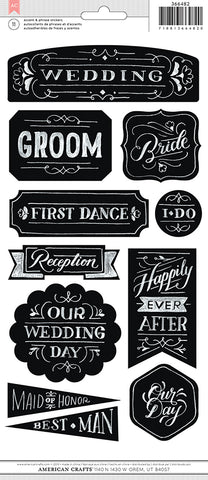 American Crafts Chalkboard Stickers - Wedding