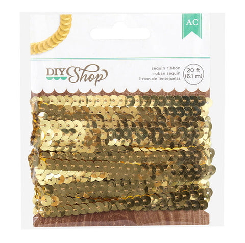 American Crafts Embellishments - Sequin Ribbon - Gold