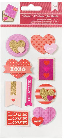 American Crafts 3D Stickers - Valentine Dimensional Stickers