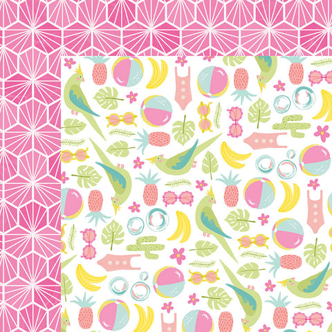 American Crafts Papers - Dear Lizzy - Happy Place - Kokomo - 2 Sheets