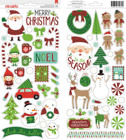American Crafts Cardstock Stickers - Christmas Glitter
