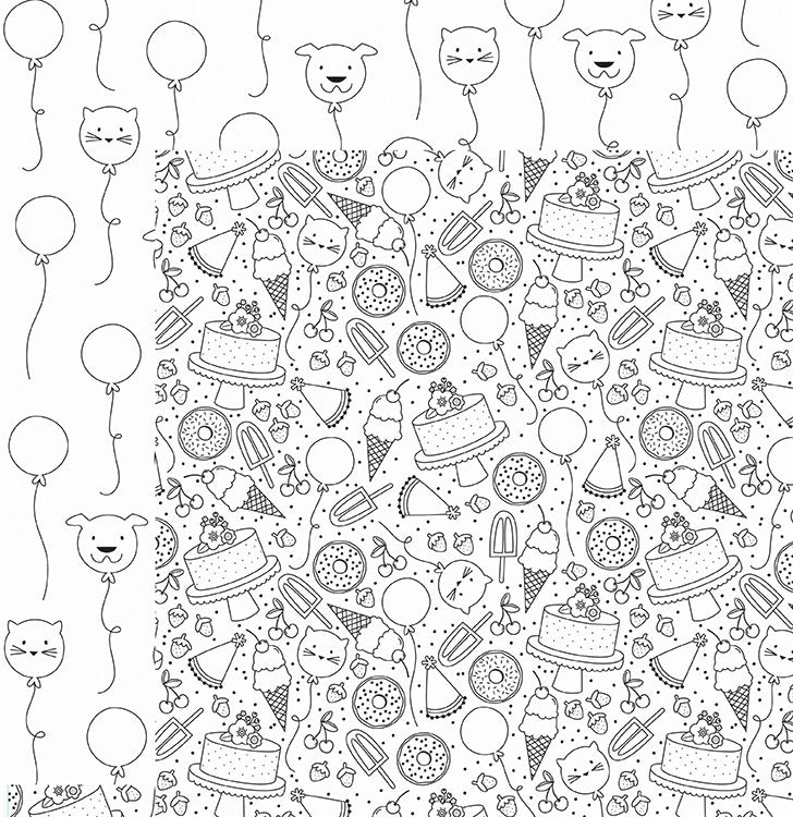 American Crafts Papers - Adult Coloring Pages - Birthday - 2 Sheets