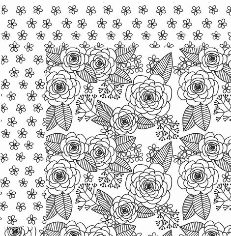 American Crafts Papers - Adult Coloring Pages - Rose - 2 Sheets