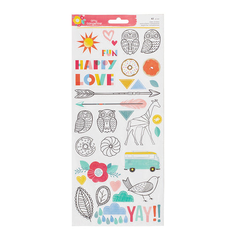 American Crafts Clear Stickers - Oh Happy Life