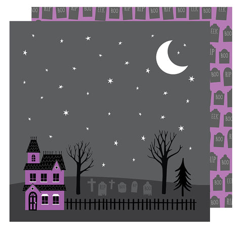 American Crafts Papers - Halloween - Haunted Graveyard - 2 Sheets