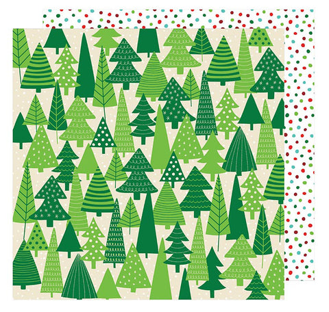 American Crafts Papers - All Wrapped Up - Evergreens - 2 Sheets