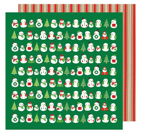 American Crafts Papers - All Wrapped Up - Snowmen - 2 Sheets