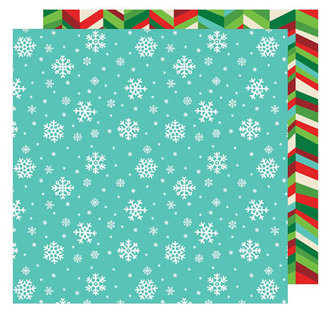 American Crafts Papers - All Wrapped Up - Snowflakes - 2 Sheets
