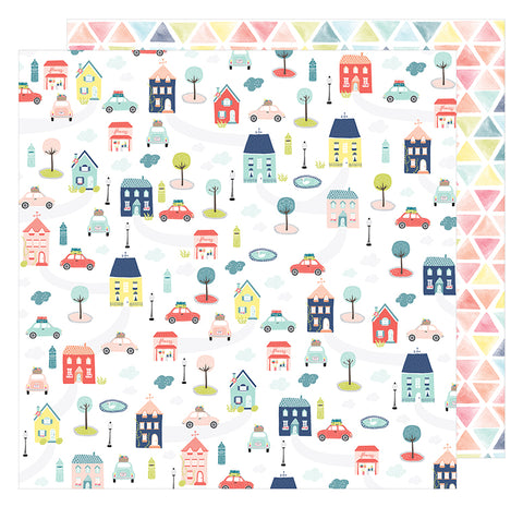 American Crafts Papers - Dear Lizzy - Lovely Day - Beep Beep - 2 Sheets