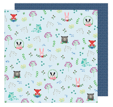 American Crafts Papers - Shimelle - Little By Little - Forest Friends - 2 Sheets