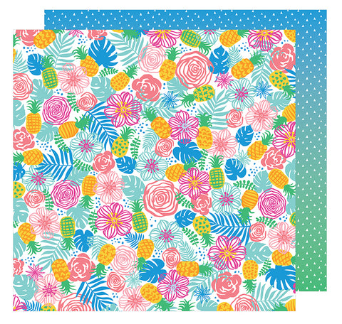 American Crafts Papers - Amy Tangerine - On A Whim - Tropical Paradise - 2 Sheets