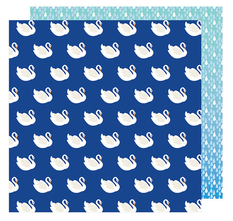 American Crafts Papers - Amy Tangerine - On A Whim - Swan Dive - 2 Sheets
