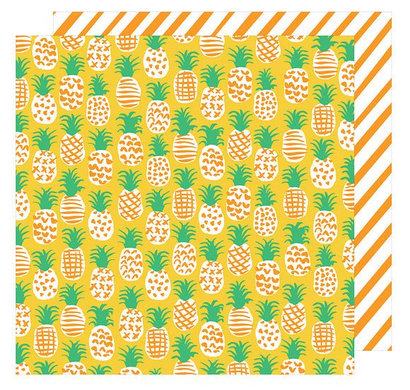 American Crafts Papers - Amy Tangerine - On A Whim - Fine Apple - 2 Sheets