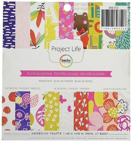 American Crafts 6x6 Paper Pad - Project Life - Playful