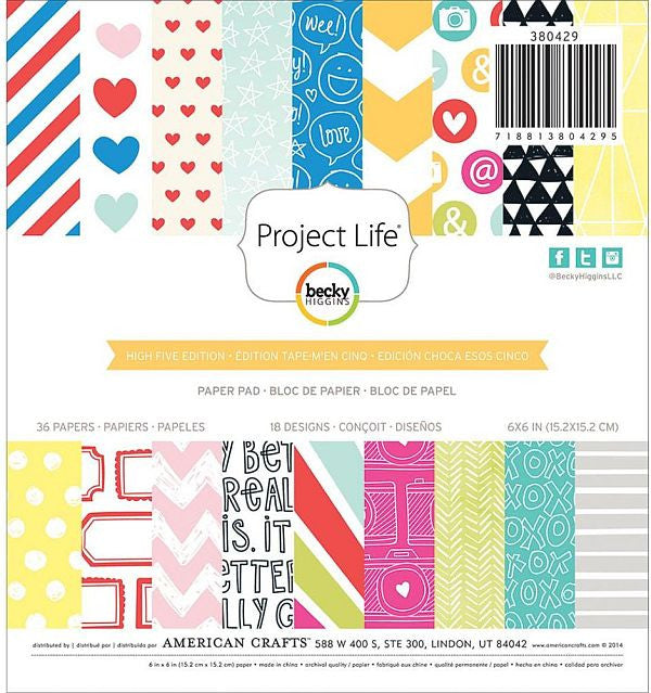 American Crafts 6x6 Paper Pad - Project Life - High Five