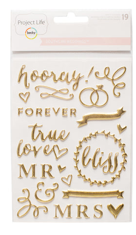 Becky Higgins Project Life Puffy Stickers - Wedding - Gold