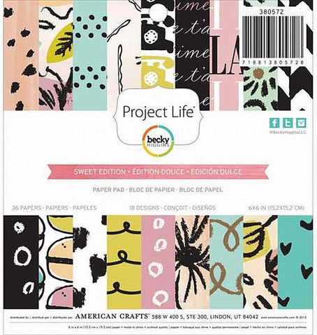 American Crafts 6x6 Paper Pad - Project Life - Sweet