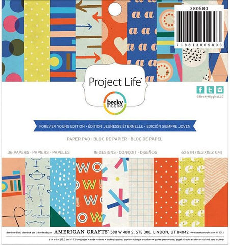 American Crafts 6x6 Paper Pad - Project Life - Forever Young
