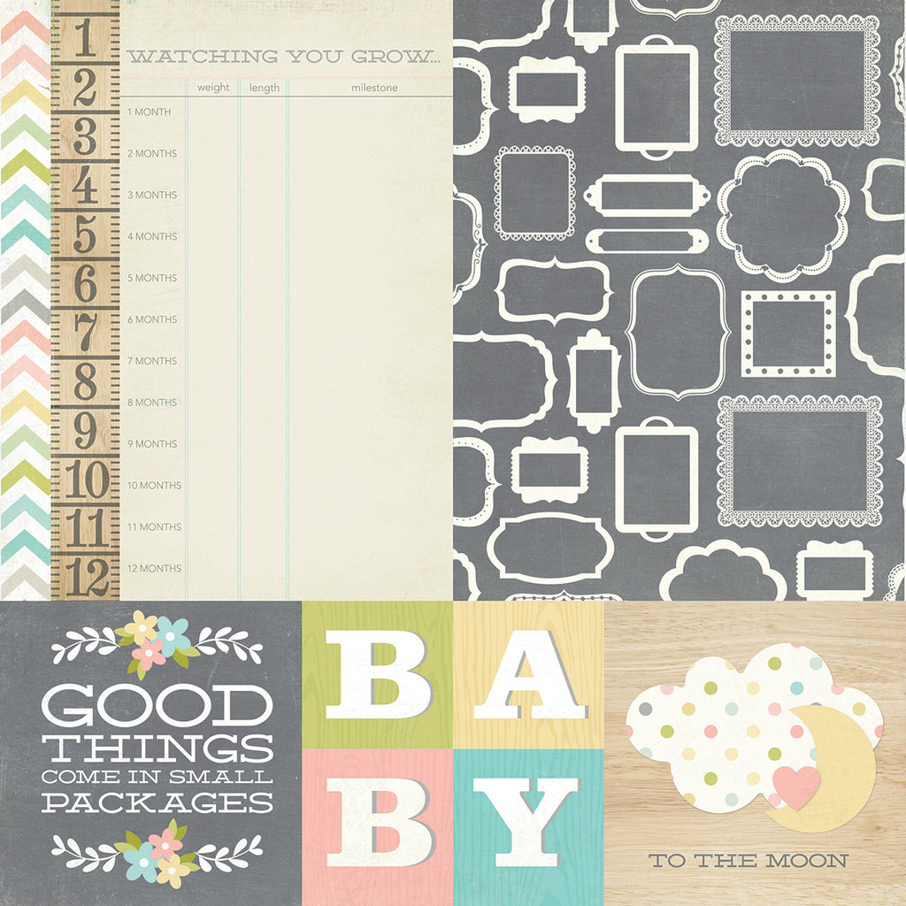 Simple Stories Papers - Hello Baby - 4x4 Quote & 6x8 Photo Mat Elements - 2 Sheets