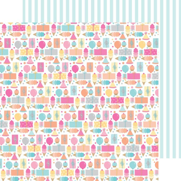 Doodlebug Design Papers - Sugar Shoppe - Birthday Girl - 2 Sheets