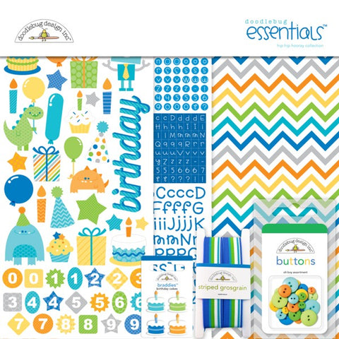 Doodlebug Design Essentials Kit - Hip Hip Hooray