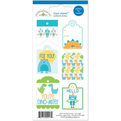 Doodlebug Mini Cardstock Stickers - Hip Hip Hooray - Tags