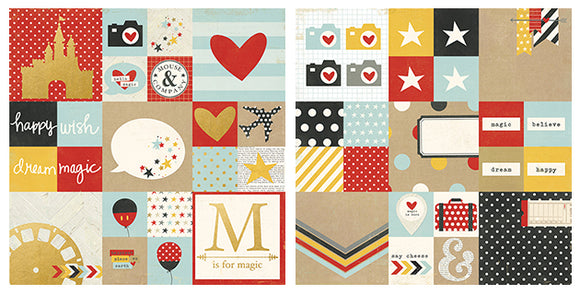 Simple Stories Papers - Say Cheese 2 - 2x2 & 4x4 Elements - Foil Accents - 2 Sheets