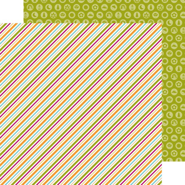 Doodlebug Design Papers - Happy Camper - Summertime Stripe - 2 Sheets