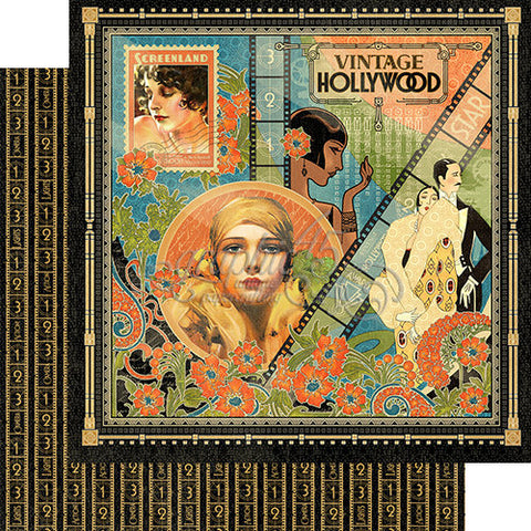 Graphic 45 Papers - Vintage Hollywood - Vintage Hollywood - 2 Sheets