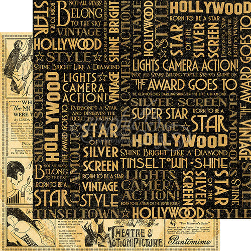 Graphic 45 Papers - Vintage Hollywood - Silver Screen - 2 Sheets